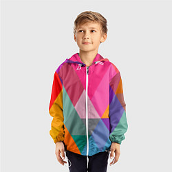 Ветровка с капюшоном детская Разноцветные полигоны цвета 3D-белый — фото 2