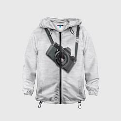 Ветровка с капюшоном детская Фотоаппарат на груди цвета 3D-черный — фото 1