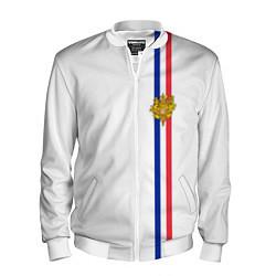 Бомбер мужской Франция: лента с гербом цвета 3D-белый — фото 1