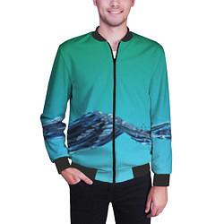 Бомбер мужской Зеленая вода цвета 3D-черный — фото 2