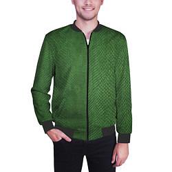 Бомбер мужской Змеиная зеленая кожа цвета 3D-черный — фото 2