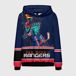 Толстовка-худи мужская New York Rangers цвета 3D-черный — фото 1