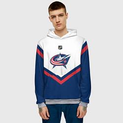 Толстовка-худи мужская NHL: Columbus Blue Jackets цвета 3D-меланж — фото 2