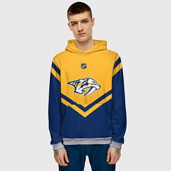 Толстовка-худи мужская NHL: Nashville Predators цвета 3D-меланж — фото 2