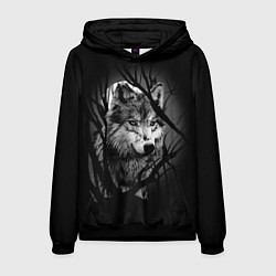 Толстовка-худи мужская Серый волк цвета 3D-черный — фото 1