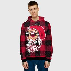 Толстовка-худи мужская Санта хипстер цвета 3D-черный — фото 2