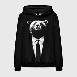 Толстовка-худи мужская Медведь бизнесмен цвета 3D-черный — фото 1