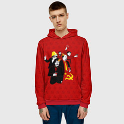 Толстовка-худи мужская Communist Party цвета 3D-красный — фото 2