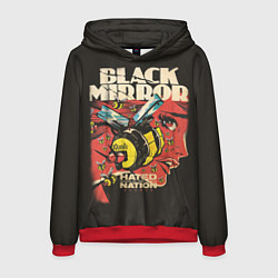 Толстовка-худи мужская Black Mirror: Nated Nation цвета 3D-красный — фото 1