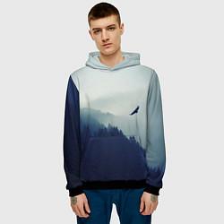 Толстовка-худи мужская Орел над Лесом цвета 3D-черный — фото 2