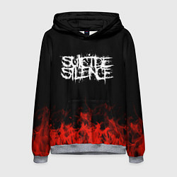 Толстовка-худи мужская Suicide Silence: Red Flame цвета 3D-меланж — фото 1