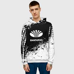 Толстовка-худи мужская Daewoo: Black Spray цвета 3D-белый — фото 2