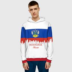 Толстовка-худи мужская Murmansk: Russia цвета 3D-красный — фото 2