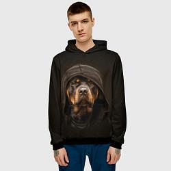 Толстовка-худи мужская Ротвейлер в капюшоне цвета 3D-черный — фото 2