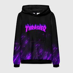 Толстовка-худи мужская Thrasher: Violet Flame цвета 3D-черный — фото 1