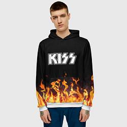 Толстовка-худи мужская Kiss: Hell Flame цвета 3D-белый — фото 2