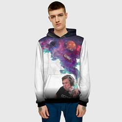 Толстовка-худи мужская Илон Маск курит космос цвета 3D-черный — фото 2