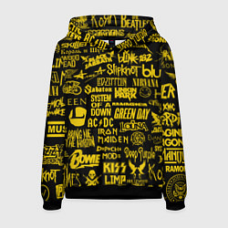 Толстовка-худи мужская Логотипы рок групп GOLD цвета 3D-черный — фото 1
