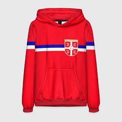 Толстовка-худи мужская Сборная Сербии цвета 3D-красный — фото 1