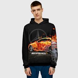 Толстовка-худи мужская Mercedes цвета 3D-черный — фото 2
