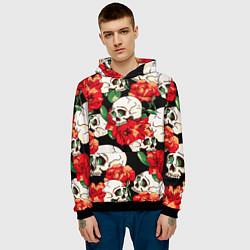 Толстовка-худи мужская Черепки и розы цвета 3D-черный — фото 2
