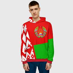 Толстовка-худи мужская Патриот Беларуси цвета 3D-красный — фото 2