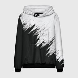 Толстовка-худи мужская Черно-белый разрыв цвета 3D-черный — фото 1