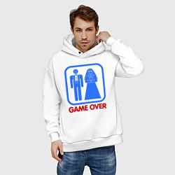 Толстовка оверсайз мужская Game over цвета белый — фото 2