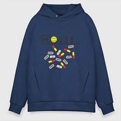 Толстовка оверсайз мужская House M.D. Pills цвета тёмно-синий — фото 1