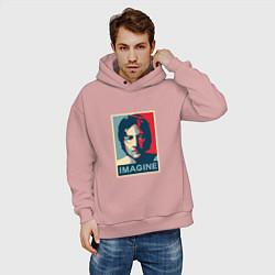 Толстовка оверсайз мужская Lennon Imagine цвета пыльно-розовый — фото 2