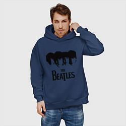 Толстовка оверсайз мужская The Beatles: Faces цвета тёмно-синий — фото 2