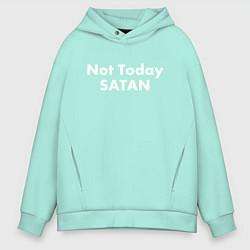 Толстовка оверсайз мужская Not Today Satan цвета мятный — фото 1