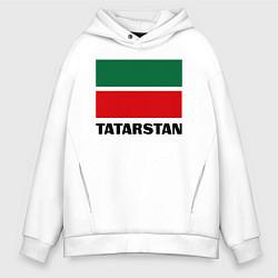 Толстовка оверсайз мужская Флаг Татарстана цвета белый — фото 1