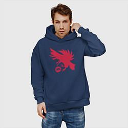 Толстовка оверсайз мужская Warlock Eagle цвета тёмно-синий — фото 2