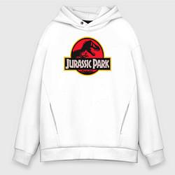 Толстовка оверсайз мужская Jurassic Park цвета белый — фото 1