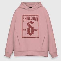 Толстовка оверсайз мужская Shinedown est 2001 цвета пыльно-розовый — фото 1