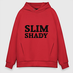 Толстовка оверсайз мужская Slim Shady: Big E цвета красный — фото 1