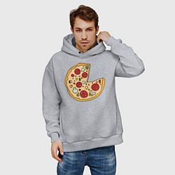 Толстовка оверсайз мужская Пицца парная цвета меланж — фото 2