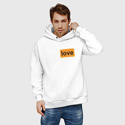 Толстовка оверсайз мужская True Love цвета белый — фото 2