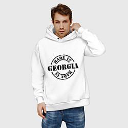 Толстовка оверсайз мужская Made in Georgia (сделано в Грузии) цвета белый — фото 2