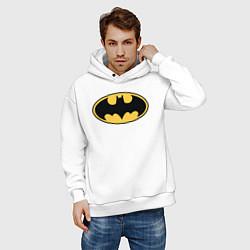 Толстовка оверсайз мужская Batman цвета белый — фото 2