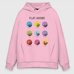 Толстовка оверсайз мужская Flat Adobe цвета светло-розовый — фото 1