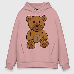 Толстовка оверсайз мужская Плюшевый медведь цвета пыльно-розовый — фото 1