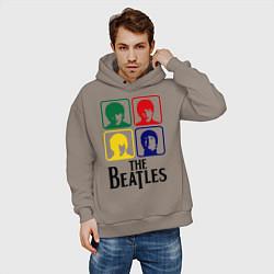 Толстовка оверсайз мужская The Beatles: Colors цвета утренний латте — фото 2