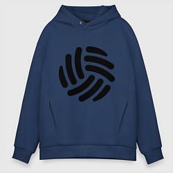 Толстовка оверсайз мужская Волейбольный мячик цвета тёмно-синий — фото 1