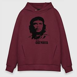 Толстовка оверсайз мужская Эрнесто Че Гевара цвета меланж-бордовый — фото 1