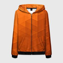 Толстовка 3D на молнии мужская Orange abstraction цвета 3D-черный — фото 1