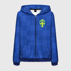 Толстовка 3D на молнии мужская Сборная Швеции: Гостевая ЧМ-2018 цвета 3D-синий — фото 1