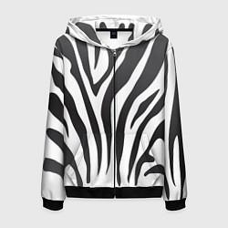 Толстовка 3D на молнии мужская Африканская зебра цвета 3D-черный — фото 1