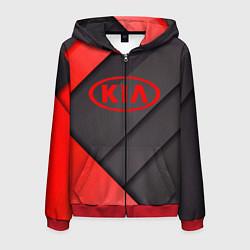 Толстовка 3D на молнии мужская KIA цвета 3D-красный — фото 1
